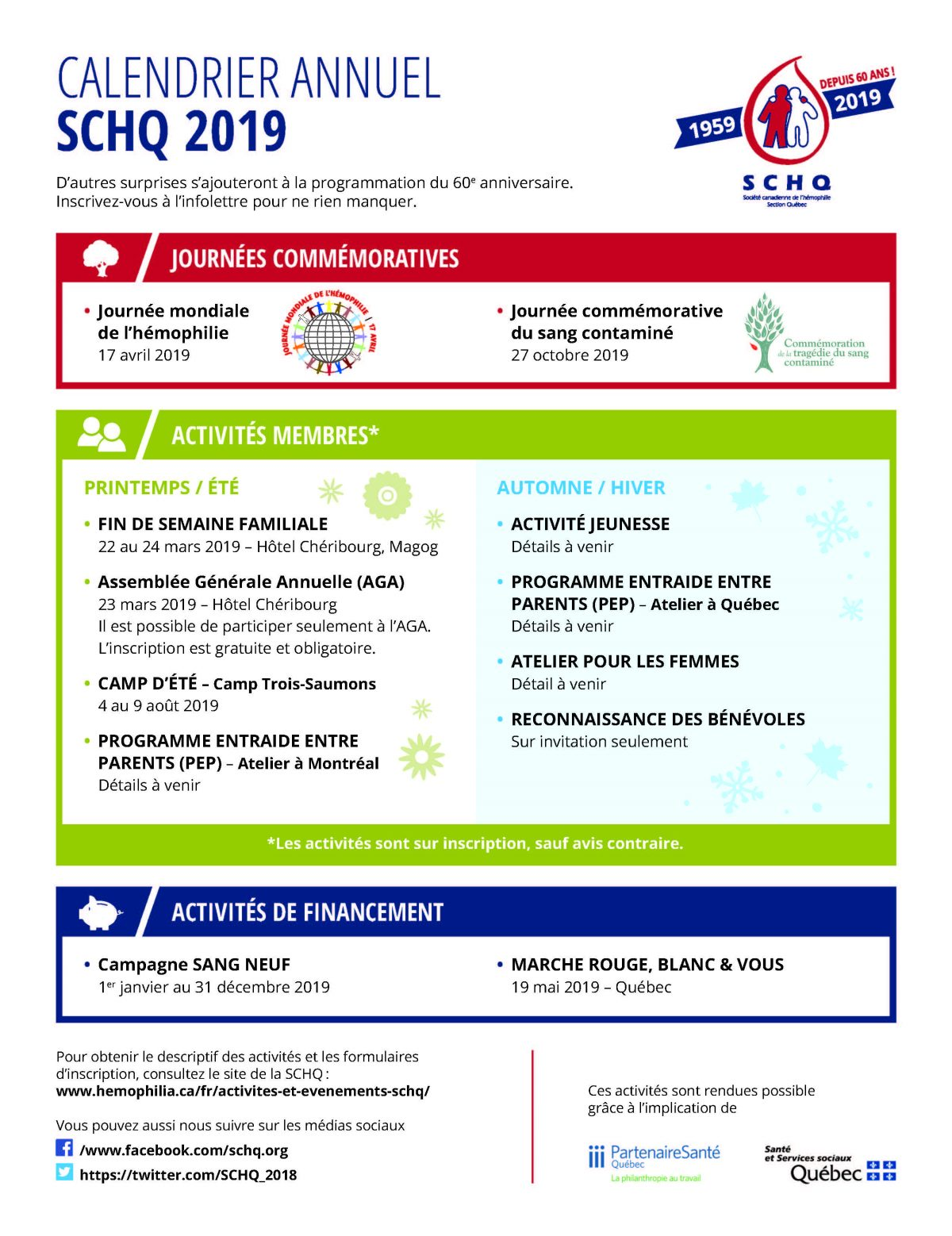 Activities and Events - CHSQ   Hemophilia